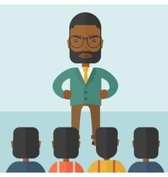 Angry black boss facing at his employees vector