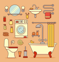 Bath equipment icons vector