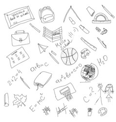 black and white school doodle elements hand vector image vector image