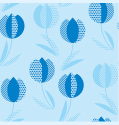 blue holland style tulip flower seamless pattern vector image