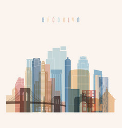 Brooklyn new york skyline detailed silhouette vector