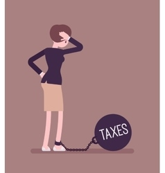 Businesswoman chained with a weight taxes vector