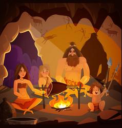 Caveman family cartoon vector
