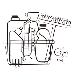 cleanind supplies silhouette vector image