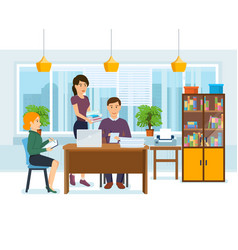 colleagues work on joint project in of office vector image