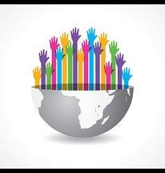 Colorful raised hand on the half earth symbol vector image vector image