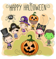 Cute halloween with kids vector