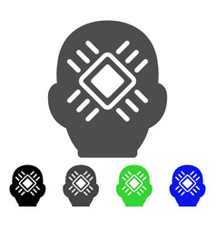 Cyborg head flat icon vector