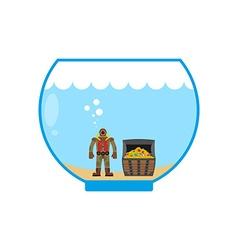 Diver and treasure chest in aquarium miniature vector