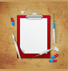 Doctors notebook medical composition vector