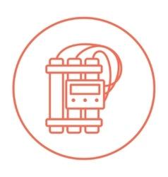 Dynamite and detonator line icon vector