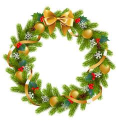 fir wreath with mistletoe vector image