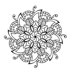 flower mandala decorative elements coloring book vector image