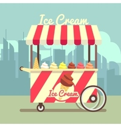 Gelato ice cream cart vector