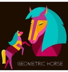 Geometric horse abstract horse set in flat style vector