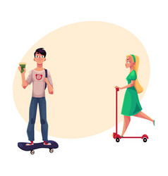 girl woman riding push scooter and boy man on vector image vector image