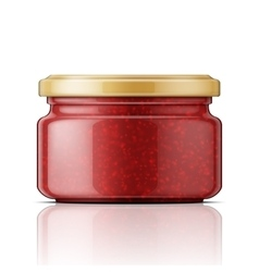 Glass jar with raspberry jam vector