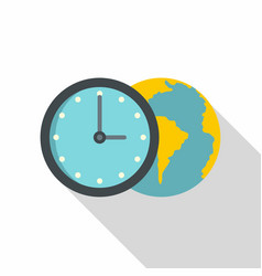Globe and clock icon flat style vector