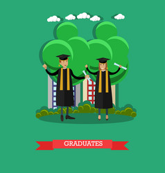 graduates in flat style vector image vector image
