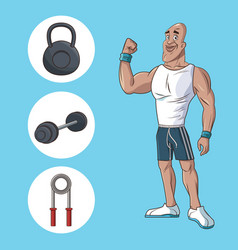 Healthy man athletic muscular gym equipment vector
