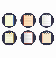 Icon of notebook in six variations on the dark vector