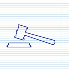 Justice hammer sign navy line icon on vector