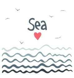 Marine horizontal background with waves vector
