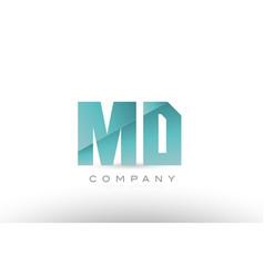 Md m d alphabet letter green logo icon design vector