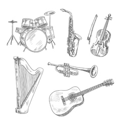 Musical instruments sketches for arts design vector image