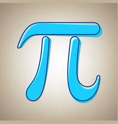 Pi greek letter sign sky blue icon with vector