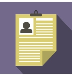 Resume icon in flat style vector image vector image