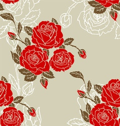 roses seamless pattern red vector image vector image