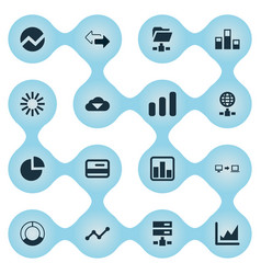 Set of simple data icons vector