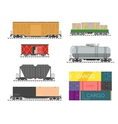 Set of train for delivery cargo vector