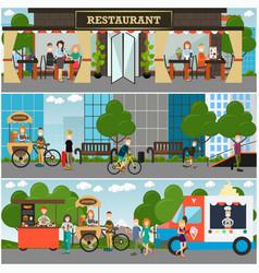 Street food and drink establishments flat vector