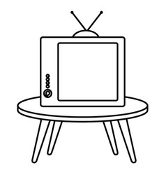 Table with old tv isolated icon vector