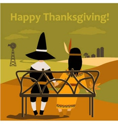 Thanksgiving card with dressed up kids vector image vector image