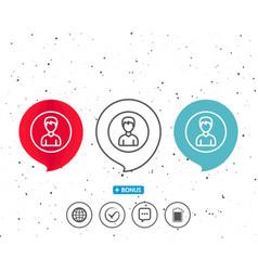 user line icon male profile sign vector image