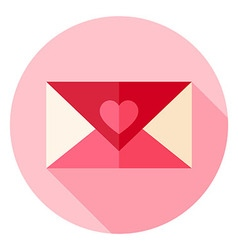 Valentine Day Love Envelope with Heart Circle Icon vector image vector image