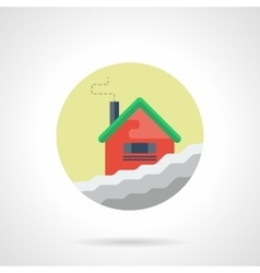 Winter house round flat color icon vector image