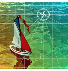 Yacht sails on the sea the top view on the map vector