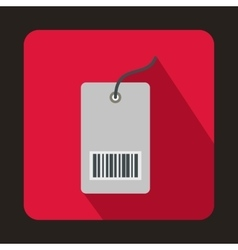 Tag with bar code icon flat style vector