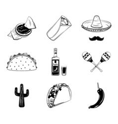 Nachos a Burrito Sombrero Mexican Hat and Mustache vector image