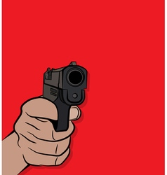 Person holding and shooting a pistol hand gun vector