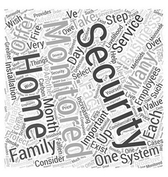Why select monitored security for your home or vector