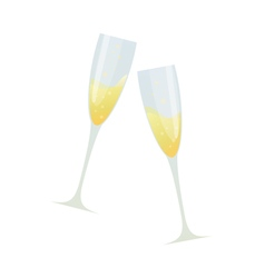 Cartoon of two glasses of champagne vector