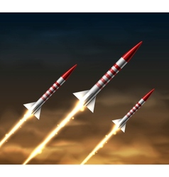 Flying rockets vector image