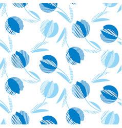 Blue holland style tulip flower seamless pattern vector