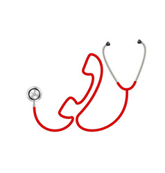 Stethoscope in shape of telephone in red design vector