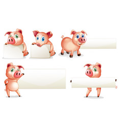 paper template with pig vector image